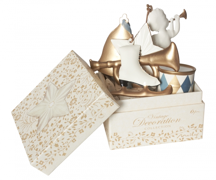 Ornament box, Metal 6 ass - white/gold 0