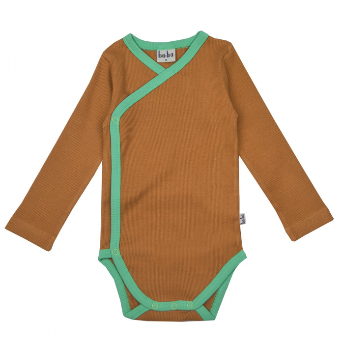Wrap body long sleeves/ Jersey rib/Brown [0]