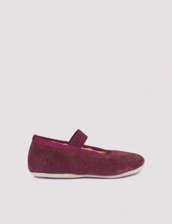 Ballerina Shoe w Elastic Wine Suede1