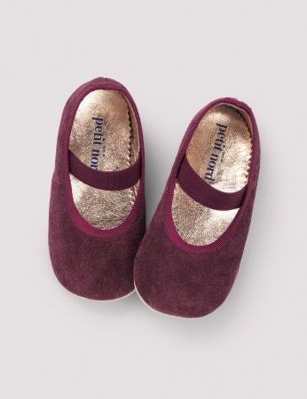 Ballerina Shoe w Elastic Wine Suede0