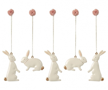 Easter bunny ornaments - 5 pieces0