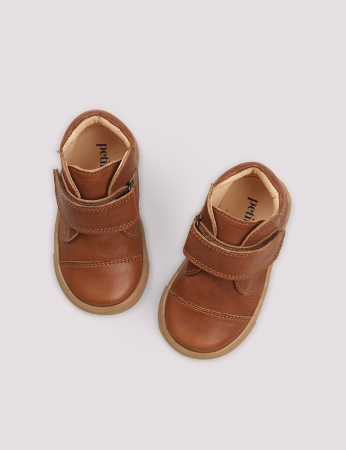 Kicks velcro Cognac2