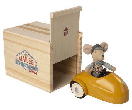 Mouse car w garage - Yellow0