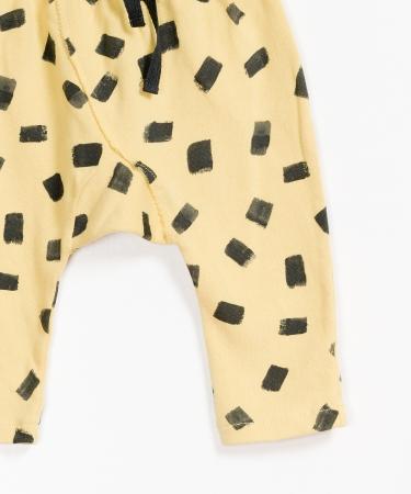 Pantaloni fleece galben cu negru2