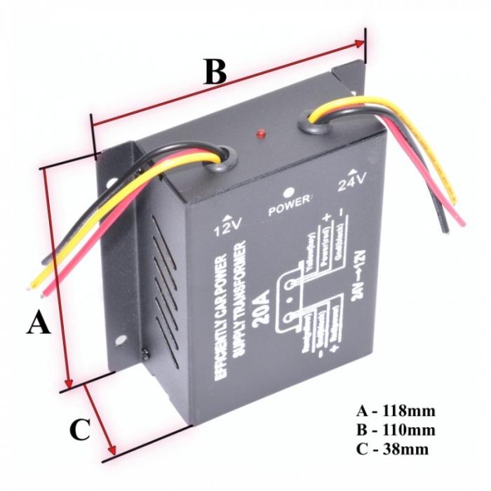 Convertor de tensiune auto 24VDC la 12VDC (10-30A) [3]