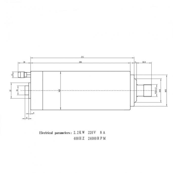 Spindle CNC 2.2/3kw 220V ER20 racire apa [2]