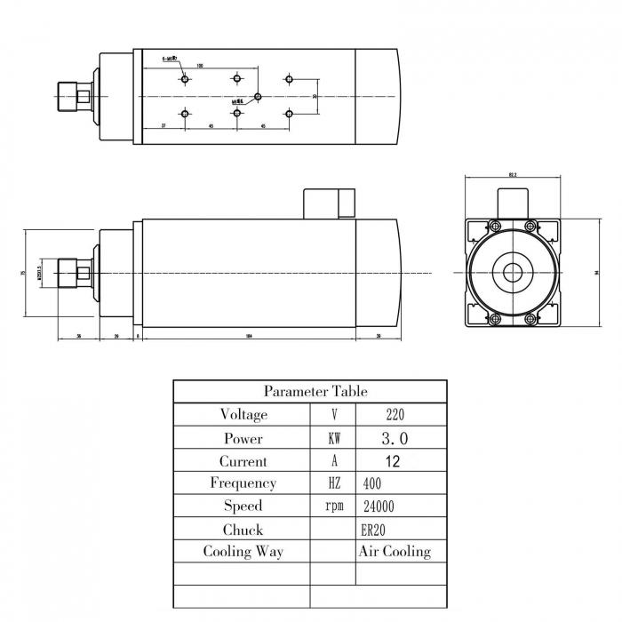 Spindle CNC 3kw 220V ER20 racire aer [2]