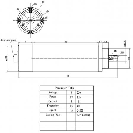 Spindle CNC 1.5/2.2kw 220V ER11/20 racire aer [2]