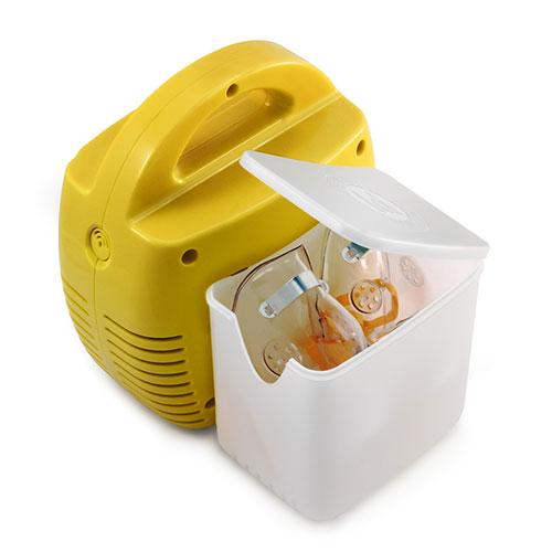 Aparat aerosoli Little Doctor LD 211 C, cu compresor, galben, cutie pentru accesorii, 3 dispensere, 3 masti 1