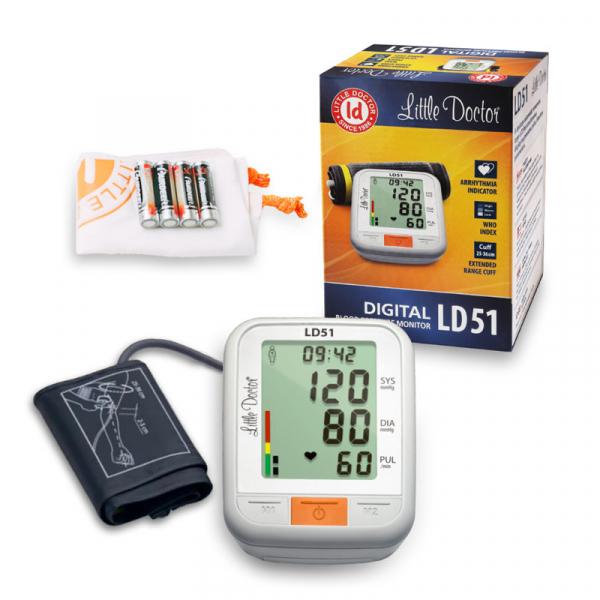 Tensiometru electronic de brat Little Doctor LD51, afisaj XXL, detector aritmie, indicator WHO, afisare data si timp, Alb/Gri 1