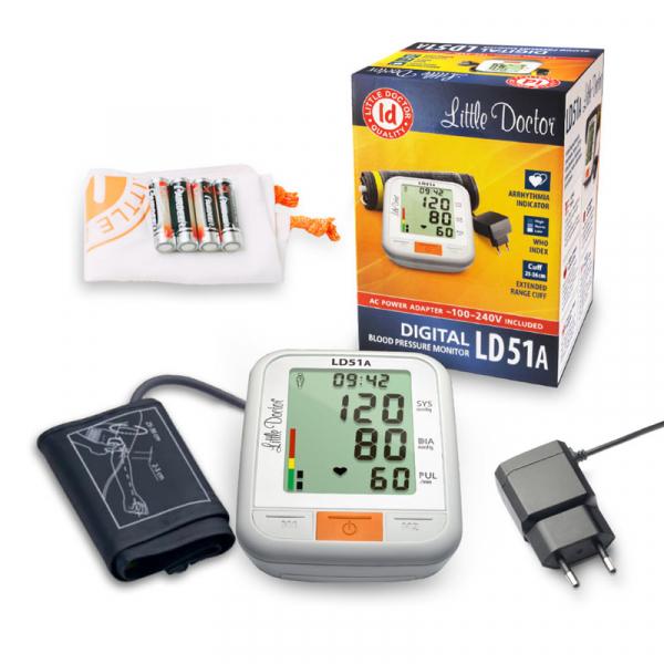 Tensiometru electronic de brat Little Doctor LD 51a, afisaj XXL, detector aritmie, indicator WHO, afisare data si ora, adaptor priza inclus, Alb/Gri 1
