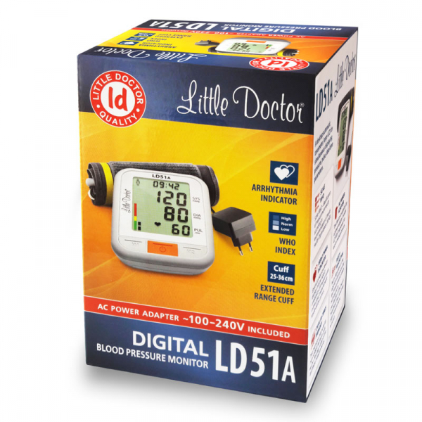 Tensiometru electronic de brat Little Doctor LD 51a, afisaj XXL, detector aritmie, indicator WHO, afisare data si ora, adaptor priza inclus, Alb/Gri 3