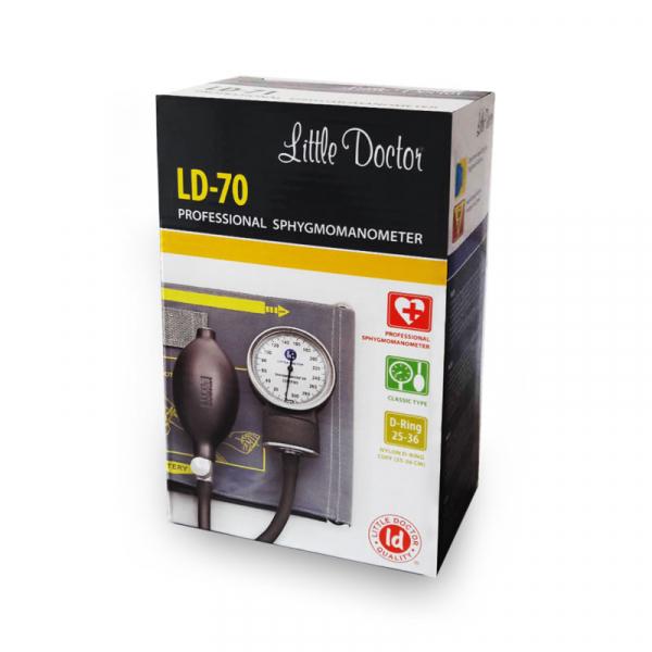 Tensiometru mecanic Little Doctor LD 70, profesional, manometru din metal, dimensiune manseta 25 – 36 cm, inel de fixare metalic, fara stetoscop, Negru/Gri 1