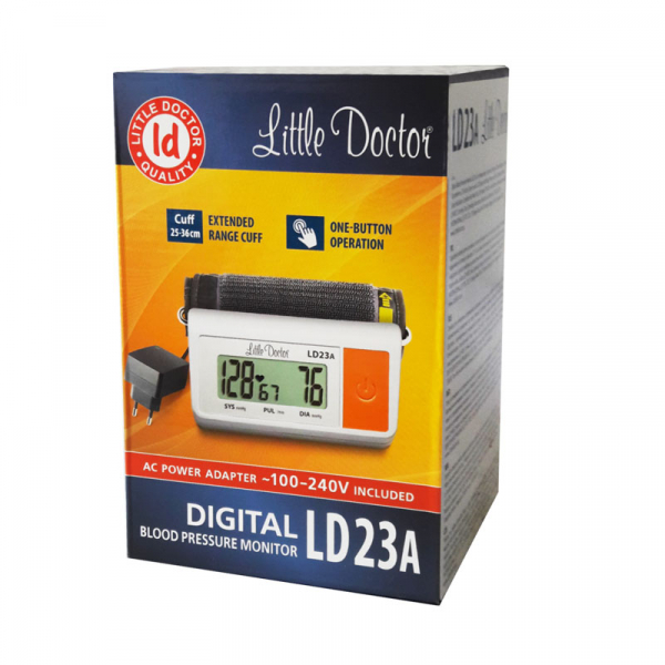 Tensiometru electronic de brat Little Doctor LD 23A, alimentator inclus, Afisaj LCD, Algoritm Fuzzy, Un singur buton de operare, Validat BHS, Alb 2