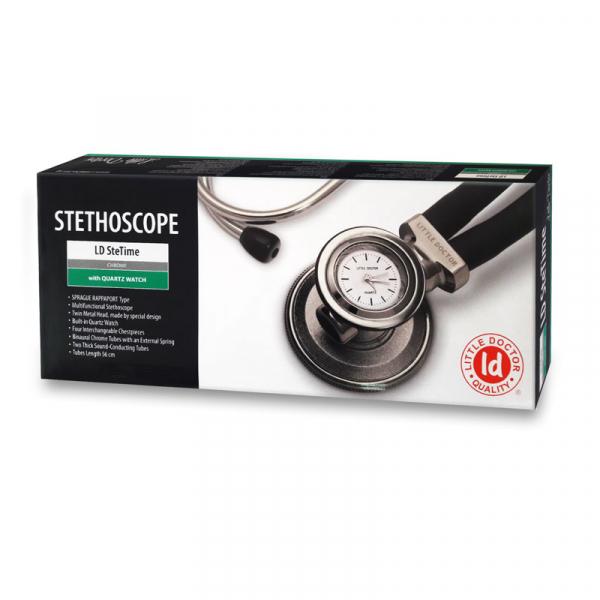 Stetoscop Little Doctor LD SteTime cu ceas, 2 tuburi, lungime tub 56cm, Negru/Inox 3