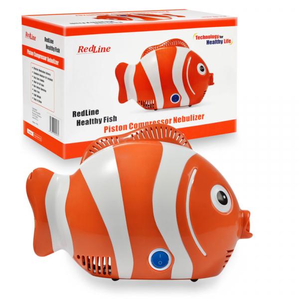 Aparat de aerosoli RedLine Healthy Fish Pro, MMAD 2.44 si 4 µm, forma jucausa apreciata de copii, furtun de 6m, 2 kit-uri de nebulizare 2
