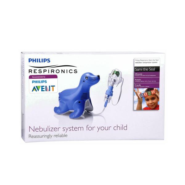 Aparat aerosoli cu compresor Philips Respironics Sami the Seal, MMAD 2.80μm, Design preferat de copii, Sistem Active Venturi, Profesional 5