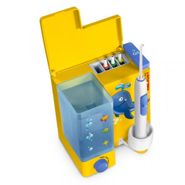 Irigator bucal Little Doctor Aquajet LD A8 pentru adulti si copii, profesional, 1200 impulsuri/min, 4 duze incluse, galben 1