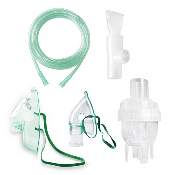 Kit accesorii universale RedLine RDA009T, pentru aparate aerosoli cu compresor, masca pediatrica, masca adulti, furtun 1.2 m, pahar de nebulizare, piesa bucala 0