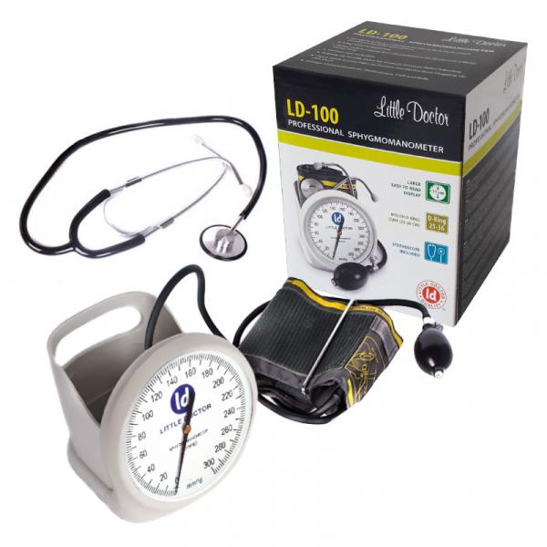Tensiometru mecanic Little Doctor LD 100, stetoscop inclus, Suport de birou, Spatiu de depozitare manseta, Diametru manometru 11 cm, Alb 1