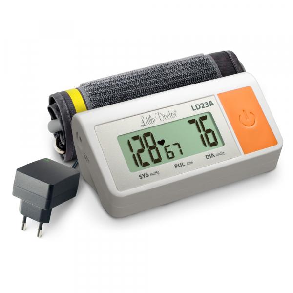 Tensiometru electronic de brat Little Doctor LD 23A, alimentator inclus, Afisaj LCD, Algoritm Fuzzy, Un singur buton de operare, Validat BHS, Alb 0