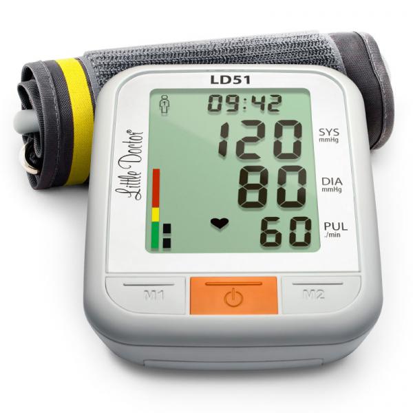 Tensiometru electronic de brat Little Doctor LD51, afisaj XXL, detector aritmie, indicator WHO, afisare data si timp, Alb/Gri 0