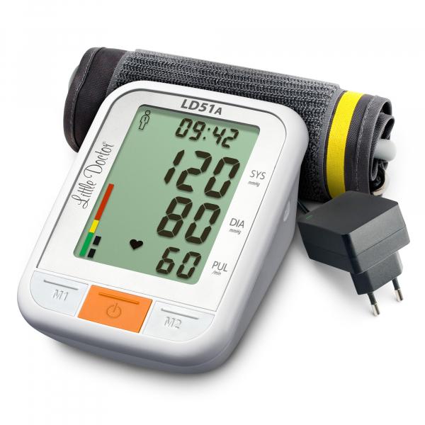 Tensiometru electronic de brat Little Doctor LD 51a, afisaj XXL, detector aritmie, indicator WHO, afisare data si ora, adaptor priza inclus, Alb/Gri 2