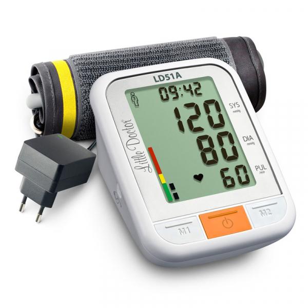 Tensiometru electronic de brat Little Doctor LD 51a, afisaj XXL, detector aritmie, indicator WHO, afisare data si ora, adaptor priza inclus, Alb/Gri 0