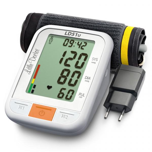 Tensiometru electronic de brat Little Doctor LD 51U, manseta 22 - 42 cm, indicator WHO, adaptor priza inclus, Alb/Gri 0