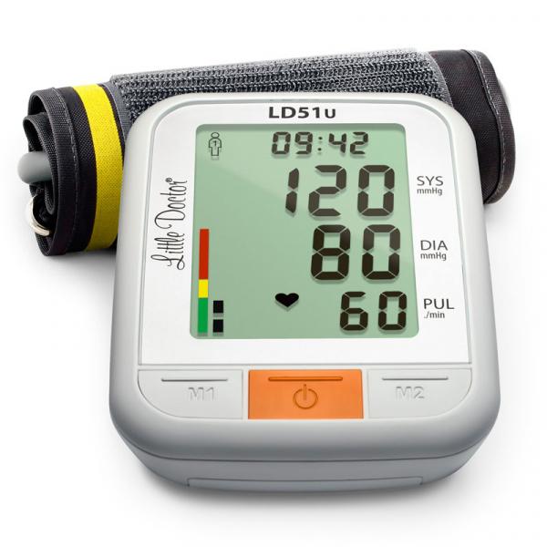 Tensiometru electronic de brat Little Doctor LD 51U, manseta 22 - 42 cm, indicator WHO, adaptor priza inclus, Alb/Gri 1
