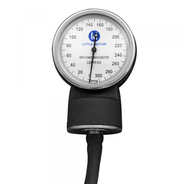 Tensiometru mecanic Little Doctor LD 70, profesional, manometru din metal, dimensiune manseta 25 – 36 cm, inel de fixare metalic, fara stetoscop, Negru/Gri 2