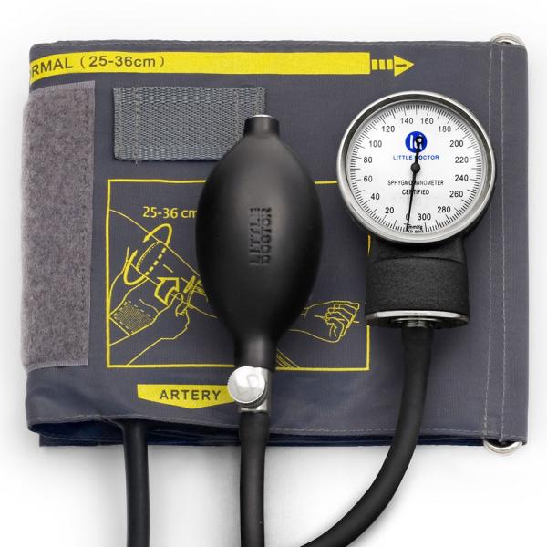 Tensiometru mecanic Little Doctor LD 70, profesional, manometru din metal, dimensiune manseta 25 – 36 cm, inel de fixare metalic, fara stetoscop, Negru/Gri 0