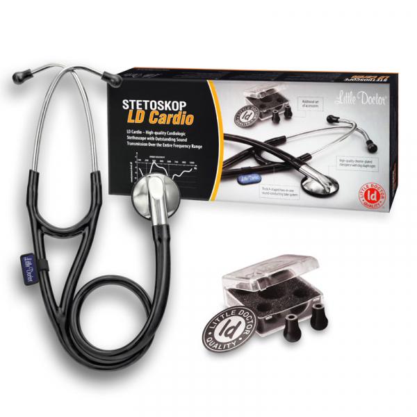 Stetoscop Little Doctor LD Cardio, profesional, 3 seturi de olive auriculare, o diafragma de schimb, placuta de identificare, Negru/inox 1