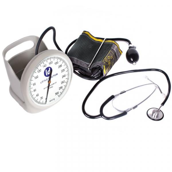 Tensiometru mecanic Little Doctor LD 100, stetoscop inclus, Suport de birou, Spatiu de depozitare manseta, Diametru manometru 11 cm, Alb 3