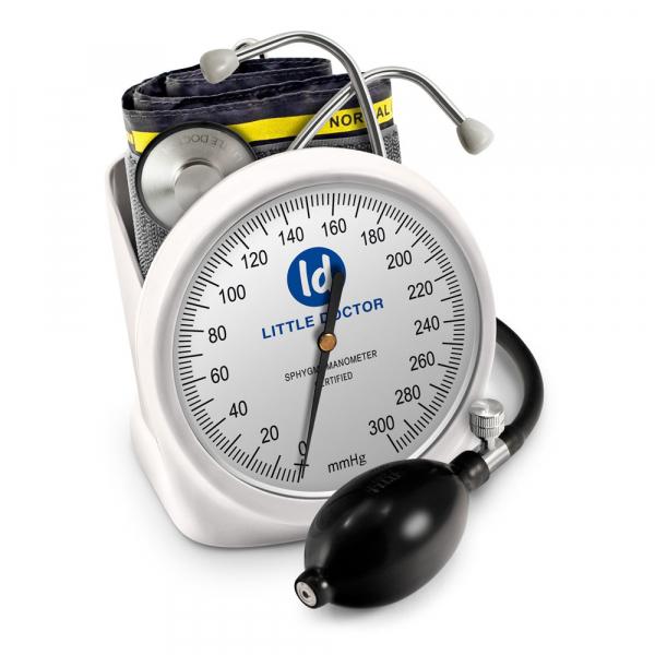 Tensiometru mecanic Little Doctor LD 100, stetoscop inclus, Suport de birou, Spatiu de depozitare manseta, Diametru manometru 11 cm, Alb 0