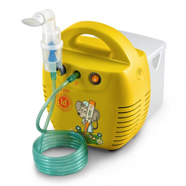 Aparat aerosoli Little Doctor LD 211 C, cu compresor, galben, cutie pentru accesorii, 3 dispensere, 3 masti 0