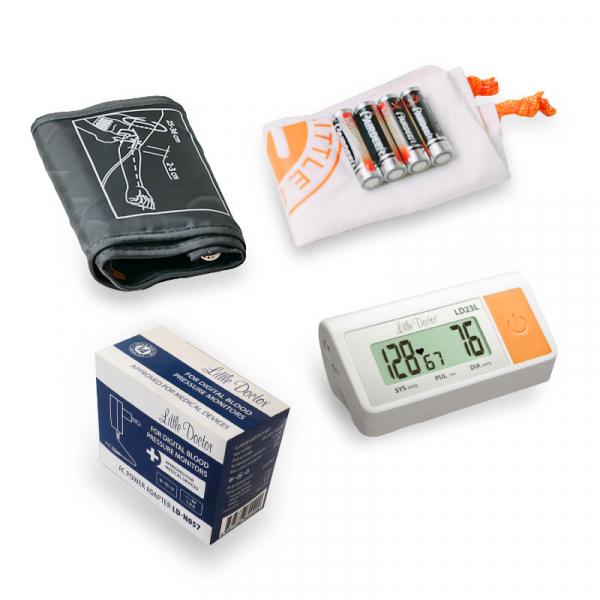 Tensiometru electronic de brat Little Doctor LD 23A, alimentator inclus, Afisaj LCD, Algoritm Fuzzy, Un singur buton de operare, Validat BHS, Alb 1
