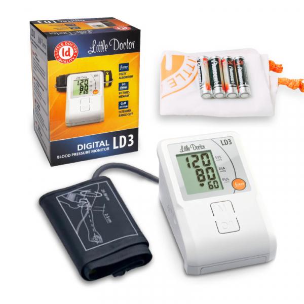 Tensiometru electronic de brat Little Doctor LD3, Afisaj LCD, Memorare 90 de valori, Alb 3