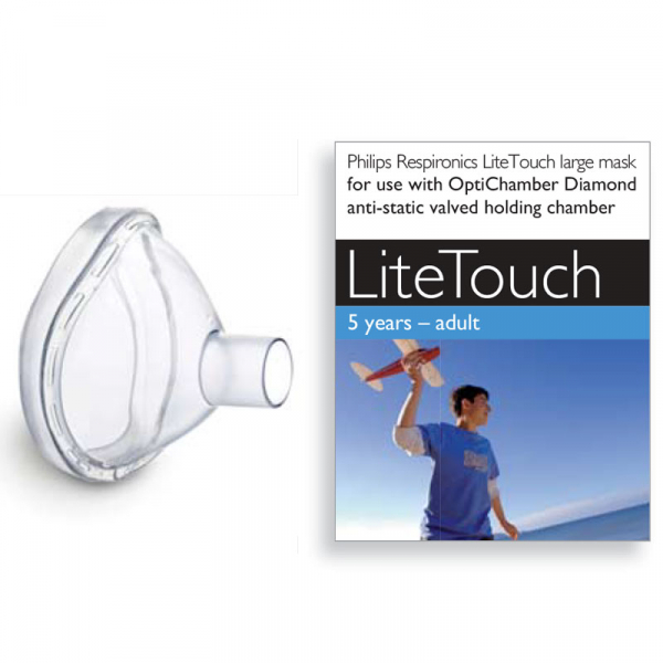 Masca large LiteTouch Philips Respironics, 5 ani - adulti, pentru Philips Optichamber 2