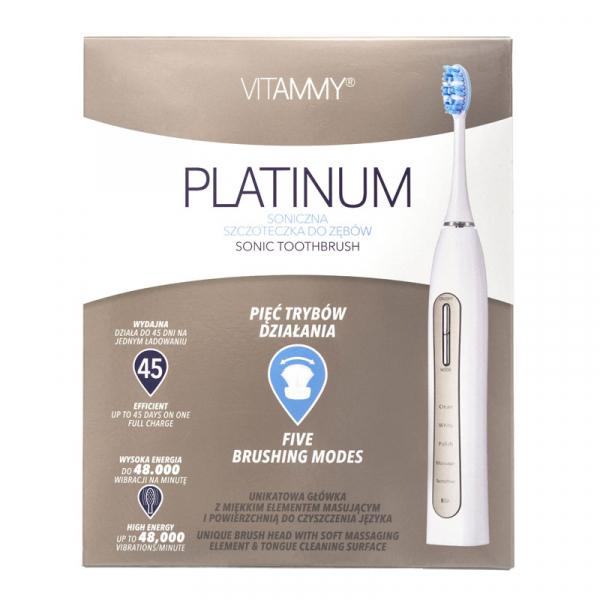 Periuta de dinti electrica VITAMMY Platinum, 48000 vibratii/min, 5 moduri de periaj, 2 capete incluse 3