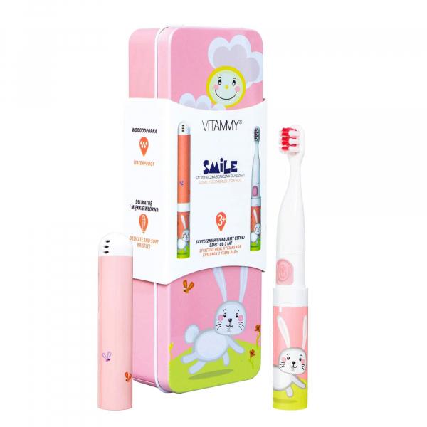 Periuta de dinti electrica VITAMMY Smile, pentru copii 3 +, cutie travel, Animatie Iepuras 4