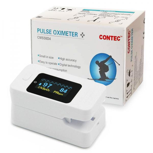 Pulsoximetru Contec CMS50D4, indica nivelul de saturatie a oxigenului din sange, masoara rata pulsului, Alb 1
