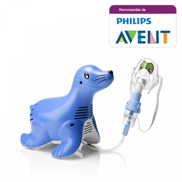 Aparat aerosoli cu compresor Philips Respironics Sami the Seal, MMAD 2.80μm, Design preferat de copii, Sistem Active Venturi, Profesional 2