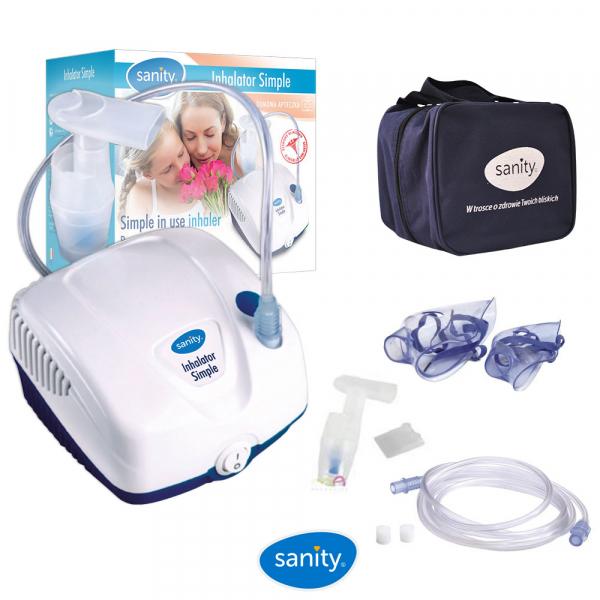 Aparat aerosoli cu compresor Sanity  Inhaler Simple, MMad 2.44 μm, compact si dimensiuni reduse, geanta de transport, alb 1