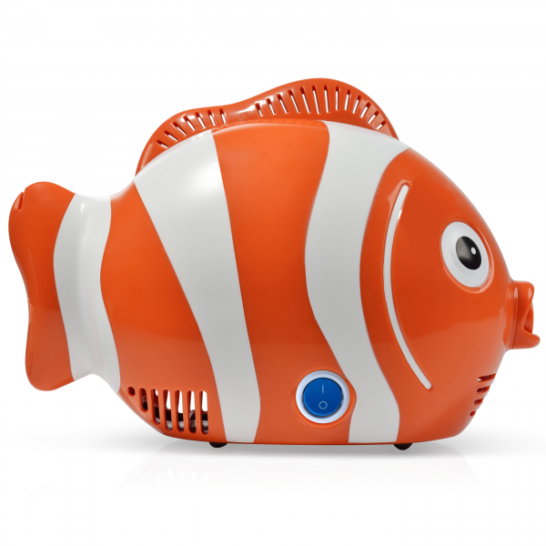 Aparat de aerosoli RedLine Healthy Fish Pro, MMAD 2.44 si 4 µm, forma jucausa apreciata de copii, furtun de 6m, 2 kit-uri de nebulizare 1