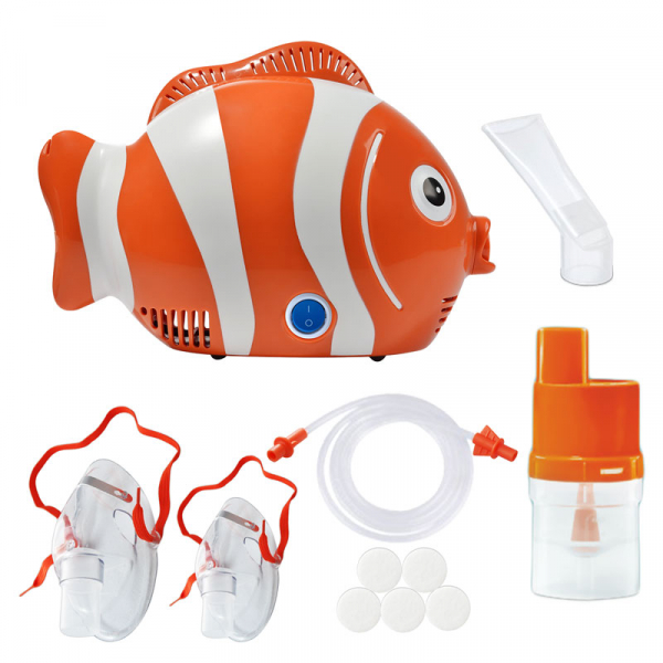 Aparat de aerosoli cu compresor RedLine Healthy Fish, MMAD 2.44 µm, forma jucausa apreciata de copii 0