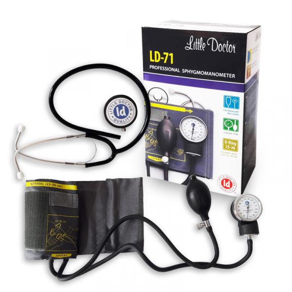 Tensiometru mecanic Little Doctor LD 71 profesional, stetoscop inclus, manometru din metal, husa de transport 1