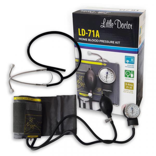 Tensiometru mecanic Little Doctor LD 71A, profesional, stetoscop atasat, manometru din metal 3