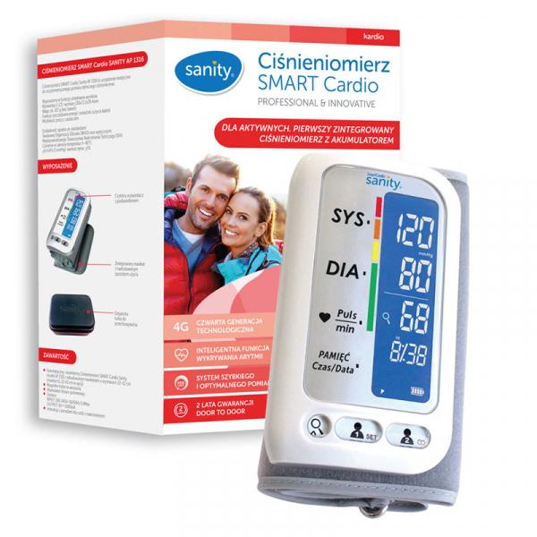 Tensiometru electronic de brat Sanity Smart Cardio, 120 memorii, Display LCD, sistolic - diastolic, Alb 1