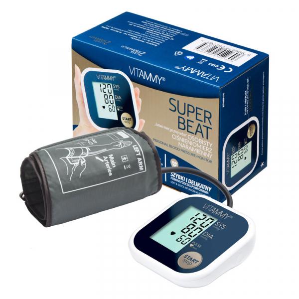 Tensiometru electronic de brat VITAMMY Super Beat, manseta 22-42 cm, Albastru/Auriu 3